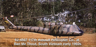 UH-1B 117th Assault Helicopter Co Quinhon, Vietnam 64/65